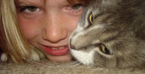 girl and cat closeup wikicommons