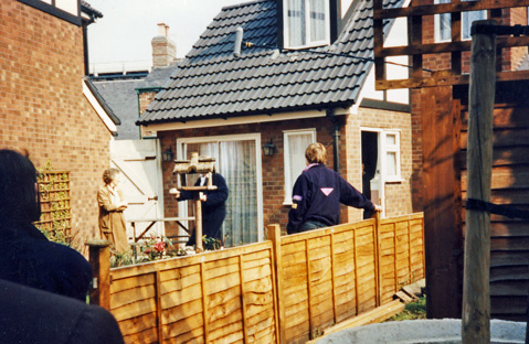 taping Coronation Street scene with Derek and Mavis Wilton