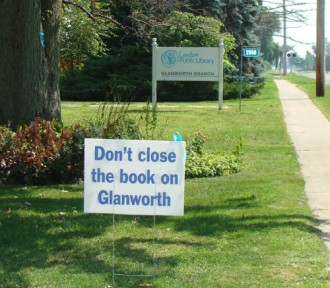 protest lawn sign don't close the book on Glanworth