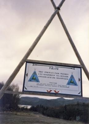 Sign entering Miawpukek (Conne River) reserve, Newfoundland