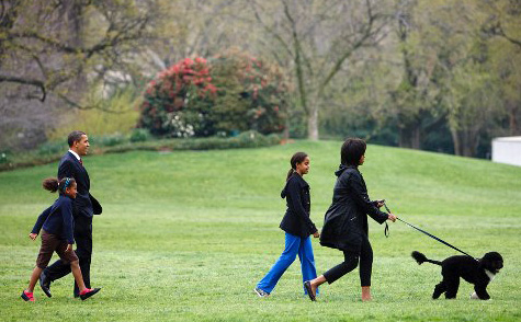 Obamas with Bo, White House lawn, commons.wikipedia.org