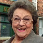 Betty Driver in front of Rovers Return