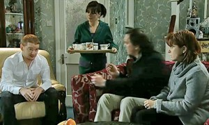 Anna serving tea to Gary and Quinns