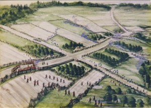 Watercolour of Battle of Ridgeway, Alexander Von Erichsen Ft. Erie Museum