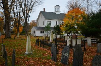 Church and graveyard in Hopkinton NH