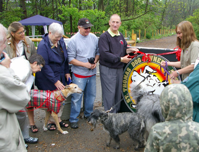 Luanne at left ribbon cutting at Lions Club Dog Park May 2010