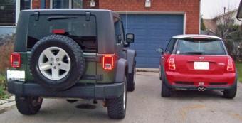 Jeep Rubicon beside MINI