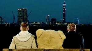 Marcus and Sean on park bench overlooking London