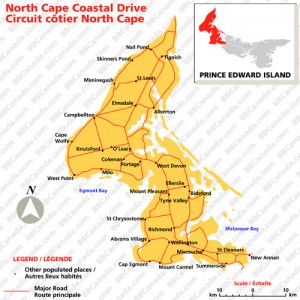 North Cape Trail map, from Bed & Breakfast Canada website