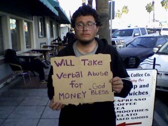 Panhandlers sign in california