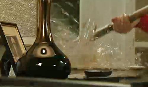 glass smashing on Barlow sideboard