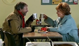 Dennis and Rita toasting Elsie in shelter