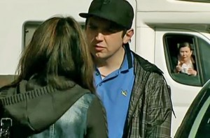Mary in motorhome as Graeme talks to Xin