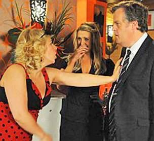 Julie in Bistro accusing Brian of flirting