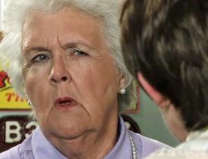 Sylvia looks askance at Hayley as she explains