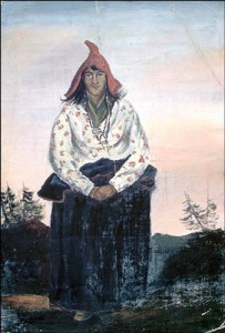 Oil portrait Mi'kmaq woman 1840s artist unknown