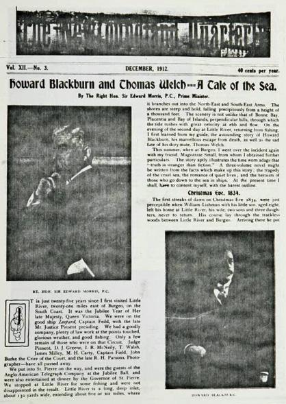 Nfld. Quarterly Dec 1912 1st page Blackburn story