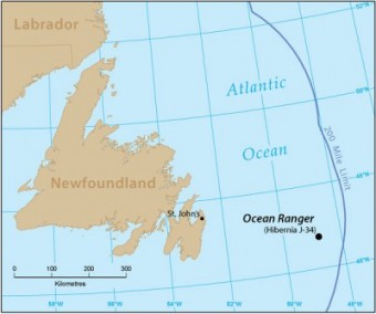 map of hibernia showing Ocean Ranger position