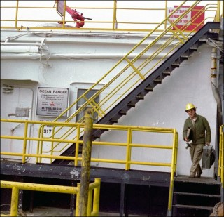 Worker on deck of Ocean Ranger 1980