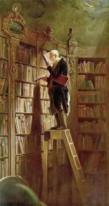 painting of library shelves Carl Spitzweg ca 1850