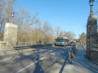 UWO bridge looking east toward Richmond Street entrance