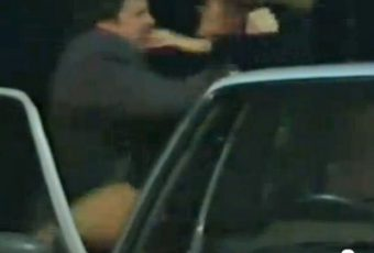 Jim hauling Liz out of car 1996