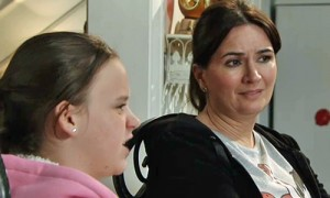 Anna looking unhappy as Faye tells off Owen