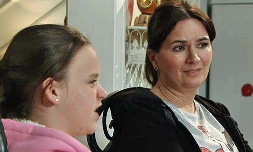 Anna looking unhappy as Faye tells off Owen