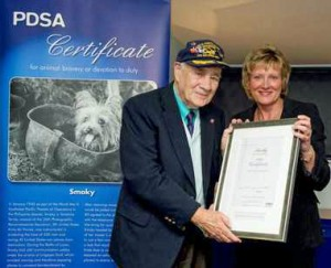 Bill Wynne accepting PDSA bravery award for Smoky
