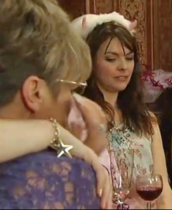 Deirdre's guilty tears at Tracy's hen night in Rovers