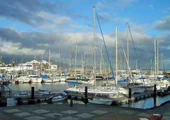 Sailboats at Ponta Delgada marina