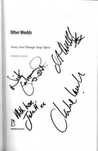 Other Worlds page autographed by Corrie stars