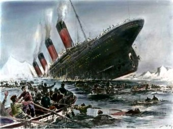 painting by Willy Stower sinking of Titanic
