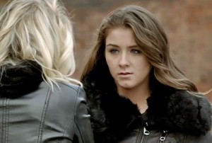 Sophie looking terrified before the wedding as Sian talks about forever