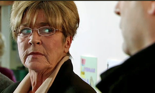 Deirdre glaring at Tracy after confrontation at school play