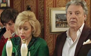 Hayley, Julie and Dennis in Rovers discuss Paul and Eileen