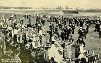 1907 Postcard of bookies at Woodbine Racetrack Toronto