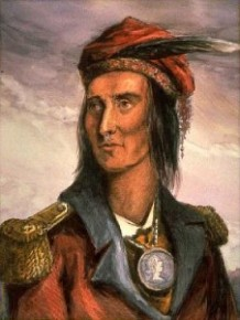 Painting by Lossing of what Tecumseh may have looked like ca 1868