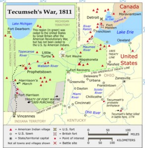 map of Tecumseh's war 1811