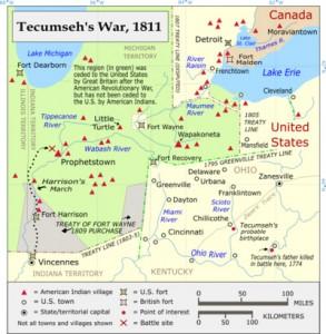 map of Tecumseh's war 1811