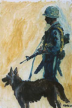 Augustine G Acuna Scout Dog, Vietnam Combat Art, from wikicommons - working animals
