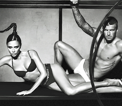 David and Victoria Beckham in armani underwear ad
