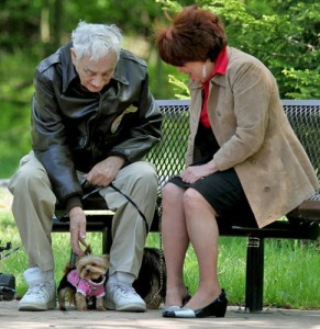 Bill Wynne with Yorkie in Cleveland park