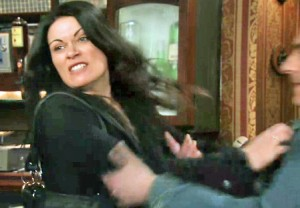 Carla shoves Peter from her in Rovers