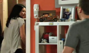 Carla walking out door, after Peter says how would you know