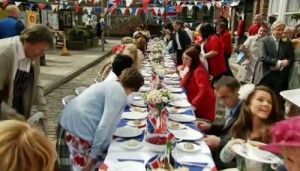 Sitting for meal at Jubilee street party