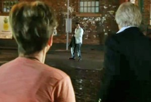 Ken and Deirdre see Peter in street