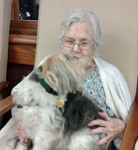 Mom holding dog Feb 2012