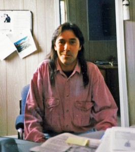 Tony John in Glenwood Band office 1997 newfoundland mikmaq ancestry search