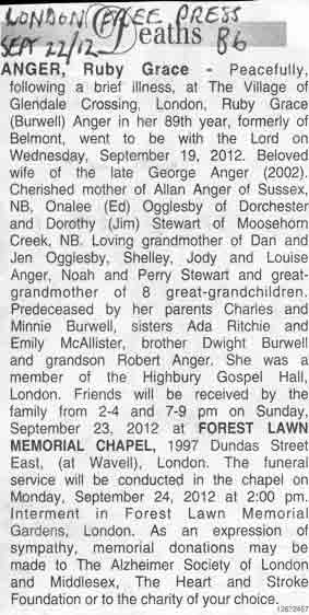 Ruby Grace Burwell Anger obit that good night
